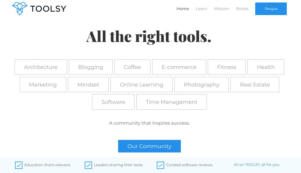 Toolsy Homepage